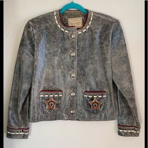 New! Double D Ranch distressed leather jacket XS